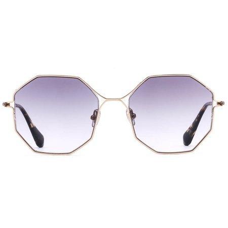 Gigi Studios modne hexagonalne okulary przeciwsłoneczne z cieniowanymi soczewkami
