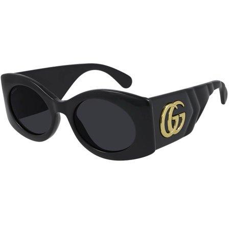 Gucci okulary przeciwsłoneczne, w czarnym kolorze, szeroki zausznik z dużym logo