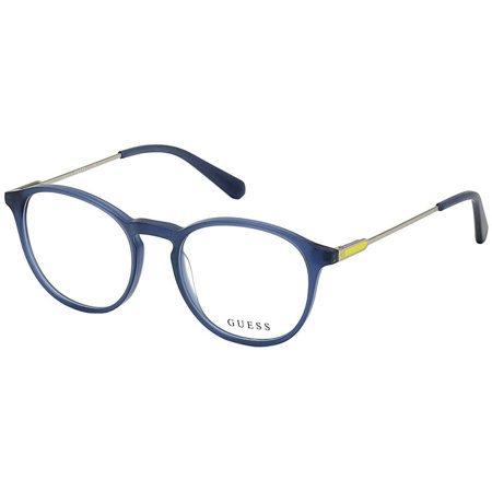 Guess lekkie okrągłe męskie okulary w kolorze niebieski mat GU 1983 091