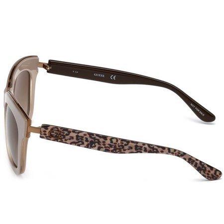Guess okulary przeciwsłoneczne w kwadratowym typie i kolorze błyszczącego beżu