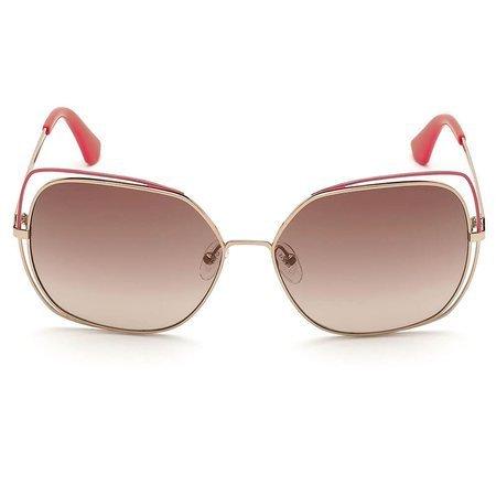 Guess okulary przeciwsłoneczne w złotej ramce, z czerwonymi akcentami na brwi i zauszniku