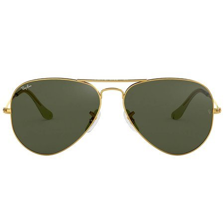 Ray-Ban klasyczne okulary przeciwsłoneczne aviator, złota ramka i zielone szkło