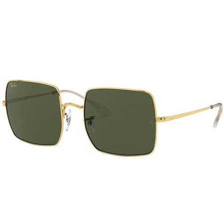 Ray-Ban kwadratowe okulary przeciwsłoneczne w klasycznych kolorach, złota ramka, zielone szkła